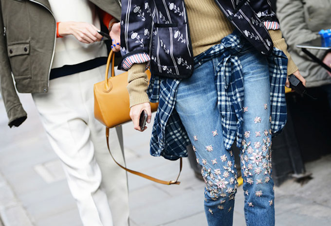 embellished jeans street style (tommy ton)